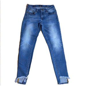 Miss Me Ankle Skinny Jeans Notched Frayed Hem